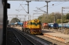 JHS WDS6AD 36352 has JHS WDG3A 14989 in tow at Jhansi Jn, with JHS WDM3A 18760 stabled in the carriage sidings