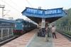 VSKP WDG3A's 14536/14544 wait to depart Raipur Jn with 12808 0835 (P) Hazrat Nizamuddin - Visakhapatnam Jn Samta Express