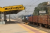 ET WDM3A/D twins 14101/11381 run through Mahasamund with a northbound freight