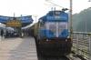 R WDM3A 16241 waits departure from Raipur Jn with 58207 1515 Raipur Jn - Junagarh Road