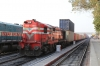KTE WDG3A 14643 waits the road north at Marwar Jn with a double-stack container train