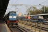 KTE WDM3D 11578 waits to depart Jabalpur Jn with 22188 1610 Jabalpur Jn - Habibganj while PTRU WDM3A 16416 shunts its stock, having arrived with 11448 1310 (P) Howrah - Jabalpur Jn Shaktipunj Express