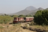 FL YDM4 6655 runs by Phulad's home signal, on the Mavli Jn branch, with 52076 0700 Mavli Jn - Marwar Jn, after the pointsman had set the road into the station, vice the runaway siding