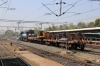 KTE WDM3A 16777 at Jabalpur Jn with an electrification train; Jabalpur would be energized a few weeks later!