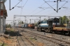 KTE WDM3A 16777 waits the road at Jabalpur Jn with an electrification train while VSKP WDG3A's 14526/14589 arrive with a freight