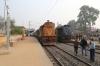 PTRU WDM3A 16520 waits to depart Mahesmunda Jn with 53365 0835 Mahesmunda Jn - Koderma Jn while UDL WDM3A 16106 arrives alongside with 53513 0800 Madhupur Jn - Giridih