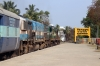 GOC WDM2 18554 (with UBL WDP4 20008 dead in train) departs Kodumudi with 56841 0650 Trichy Jn - Erode Jn