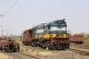 Restricted VTA WDM3A 018728 shunts the yard between Sabarmati Town & Sabarmati Jn