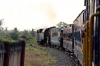 ONR X Class steam 37398 leads 56136 0710 Mettupalayam - Udagamandalam as the train approaches Kallar