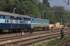 TKD WAG7 27355 waits to depart Prayag Jn with 11107 2040 (P) Gwalior Jn - Varanasi Jn; it had been worked to Allahabad Jn by off-link JHS WDG4D 70572