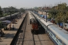 SPJ WDM3A 18814 hammers through Patna Sahib with 12568 1245 Patna Jn - Saharsa Jn