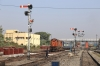 JMP WDM3A 16091 arrives into Jamalpur Jn with 07006 0130 Raxaul Jn - Hyderabad, which had started at Darbhanga Jn due to the late inward working of 07005 Hyderabad - Raxaul Jn