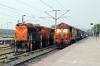 VSKP WDM3A 16244 at Dhanbad Jn after arrival with 12832 2010 (P) Bhubaneswar - Dhanbad Jn Garib Rath; BKSC WDG3A 13642 stands alongside