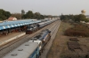 IZN WDM3D 11353 arrives into Bareilly City with 55355 1255 Kasganj Jn - Bareilly City, while IZN WDM4D 40310 waits its next turn