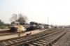 SGUJ WDP4D 40325 in platform 1 at Guwahati Jn with 12423 2035 (Dibrugarh Town - New Delhi Rajdhani Express and HWH WDM3D's 11246/11498 in platform 2 with 15960 1825 (P) Dibrugarh - Howrah