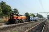 VSKP WDM3D 11537 at Lanjigarh Road, dropping onto the rear of 58301 0715 Sambalpur Jn - Koraput; the rear portion of the train would then form 58303 1350 Lanjigarh Road - Junagarh Road
