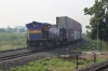 SBI WDG5 50007 waits on the curve at Surendranagar Jn with a double-stack container train