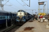 R WDM3A's 16150/16164 arrive into Khurda Road Jn with 12993 2245 (PP) Gandhidam - Puri
