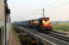 VSKP WDM3D 11538 approaches Kanas Road with 18304 1535 Puri - Sambalpur Jn; taken from 12993 2245 (PP) Gandhidam - Puri, headed by R WDM3A's 16150/16164