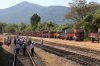 Lorries line up at Karwar for a northbound Ro-Ro service while track inspection is being carried out