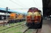 BNDM WDM3A's 16132/16439 sit at Puri having arrived with 18474 1410 (PP) Jodhpur Jn - Puri; VSKP WDM3A's 16245/16441 sit alongside having arrived earlier with 12844 1800 (PP) Ahmedabad Jn - Puri