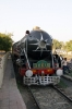 WP/1 7161 stabled at Alwar Jct, in steam, with three coaches, the boards on which said it was a Delhi Cantt - Alwar Steam Express!