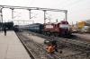 Delhi Jct, old & new TKD liveries - (L) WDM3A 16002 waits departure with 15035 1600 Delhi Jct - Kathgodam while (R) WDM3A 18866 waits departure with 14008 1620 Delhi Jct - Muzaffarpur