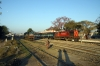 Ballia - (L) GD WDM3A 16019 waits its next turn while (R) SPJ WDM3A 16334 waits with 13106 0900 Ballia - Sealdah