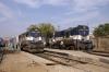 Jodhpur (L-R) ABR WDM3A 18841 having arrived with 22478 0600 Jaipur Jct - Jodhpur SF Exp and ABR WDM2 17640 having arrived with 54824 0515 Hisar Jct - Jodhpur