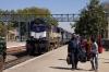 ABR WDM2 17702 arrives at Mavli Jct with 09721 0645 Jaipur Jct - Udaipur City
