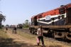 Ambli Road (L-R) ET WDM3A 18723 runs through with a container train while RTM WDM3A 18730 waits to depart with 59547 1200 Ahmedabad Jct - Okha
