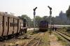 Sabarmati Jct (L-R) SBI YDM4 6295 arrives with 52907 1210 Mahesana Jct - Ahmedabad Jct while SBI YDM4 6386 waits to run in with 52906 1355 Ahmedabad Jct - Mahesana Jct