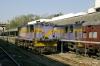 SBI YDM4 6666 is prepared to depart Ahmedabad Jct with 52926 1550 Ahmedabad Jct - Khed Brahma; SBI YDM4 6376 waits its next turn alongside