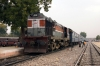 LDH WDM3A 18543 stands at Ringas Jct with 59716 0500 Rewari Jct - Phulera Jct