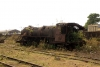 Steam loco 4118 rusting away without any wheels in Badarpur Yard