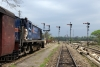 LMG YDM4, Alco machine, 6110 waits at Arunachal Jct with 52583 0755 Karimganj Jct - Silchar
