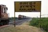 (L) GTL WDM3A 16566 waits at Harlapur with 57273 0600 Hubli Jct - Tirupati Jct to cross (R) GY WDM3As 14041/040 with 18047 2330 (20/11) Howrah - Vasco Da Gama