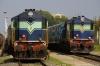(L) BZA WDP1 15066 while (R) BZA WDP1 15058 shunts stock at Machillipatnam for 17049 1945 Machillipatnam - Secunderabad Jct