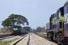 Nanjangud Town (L) KJM WDM3A 14047 arrives with 56214 2055 (21/11) Tirupati - Chamarajanagar while (R) KJM WDG3A 13268 waits to depart with 56203 1110 Chamarajanagar - Mysore Jct