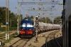 Recently overhauled, KJM WDM3A 14007R waits at Krishnarajapuram with a freight