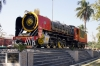Steam loco YG 4119 newly restored sits in front of Guwahati Junction station, Assam