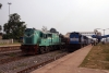 R WDG3A 13217 (L) at Rengali with a loaded ballast train while BNDM WDM3D 11145 (R) arrives with 58216 0730 Titlagarh - Jharsuguda