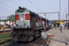 LDH WDM3A 17942 waits departure from Varanasi Jct with 12237 1250 Varanasi Jct - Jammu Tawi