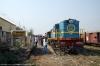 NKE YDM4 6532 waits departure from Jhanjharpur Jct with 52517 0830 Sakri Jct - Laukaha Bazar