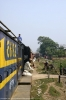 View from the cab of NKE YDM4 6682 as it departs Jhanjharpur Jct with 52520 0815 Laukaha Bazar - Sakri Jct