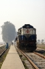 MLDT WDM2 16868 runs round the train of the day at Singhabad, beyond the treeline is Bangladesh