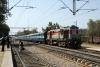 LDH WDM2 (Jumbo) 17838 departs Shakur Basti with 12482 0555 Sri Ganganagar Jct - Delhi Jct