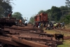 KGP WDM3A 16420 is halted in its tracks as it attempts to run round 58102 1150 Badampahar - Tatanagar at Gorumahisani, by the labour intensive sleeper offloading