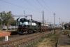 KGP WDM2 17975 waits departure from Madhupur Jct with 53517 1620 Madhupur Jct - Giridih passenger