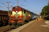 VSKP WDM3A 18802 waits departure from Dangoaposi with 18416 0600 Puri - Barbil, after running round its train